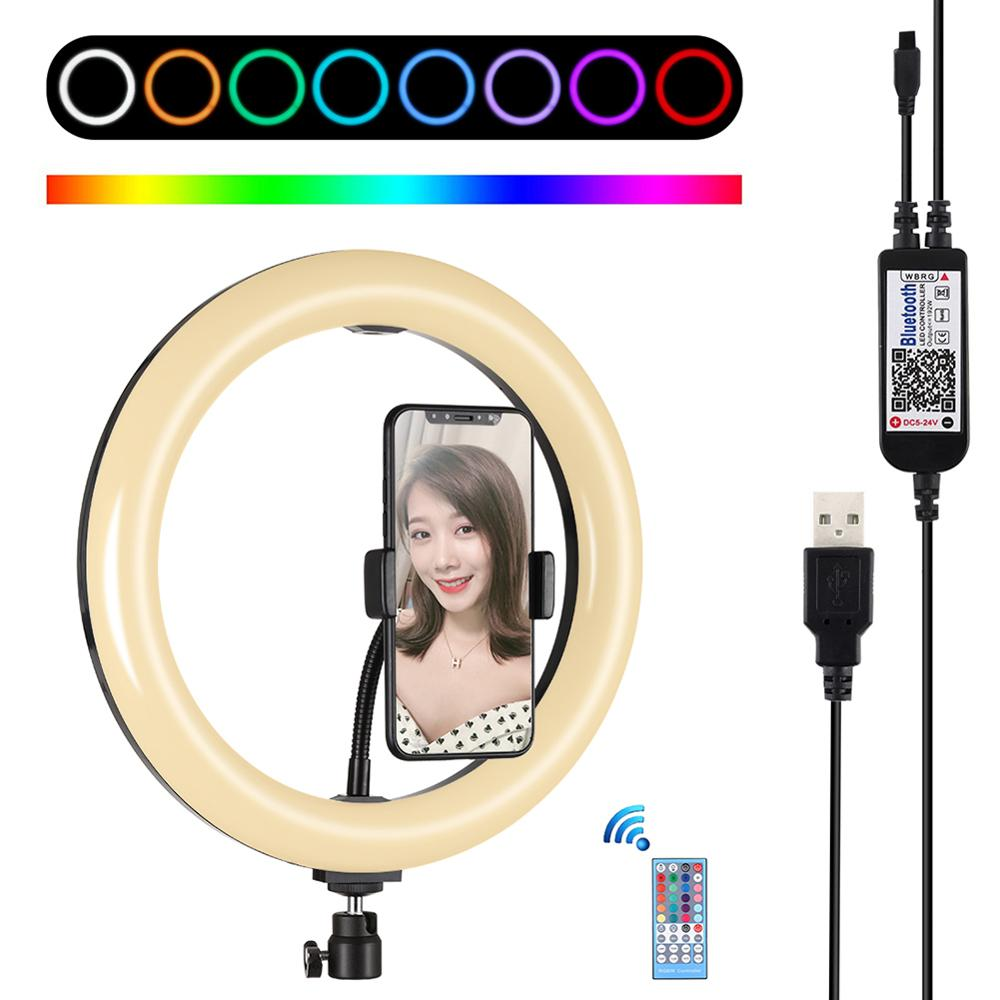 Selfie Ring Light 360-degree Rotatable Ball Head Stabilizer Dimmable USB Ring Light for Photography Streaming with Remote Contro