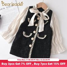 Bear Leader Girls Princess Patchwork Dress 2020 New Fashion Party Costumes Kids Bowtie Casual Outfits Baby Lovely Suits for 2 7Y