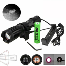 940nm IR LED Night Vision Light Zoom Infrared Hunting Flashlight  Torch+18650+USB Charger+ Scope Mount+Remote Switch uniquefire 1508 osram infrared 940nm led flashlight 38mm convex lens night vision zoomable torch 3 mode remote pressure switch