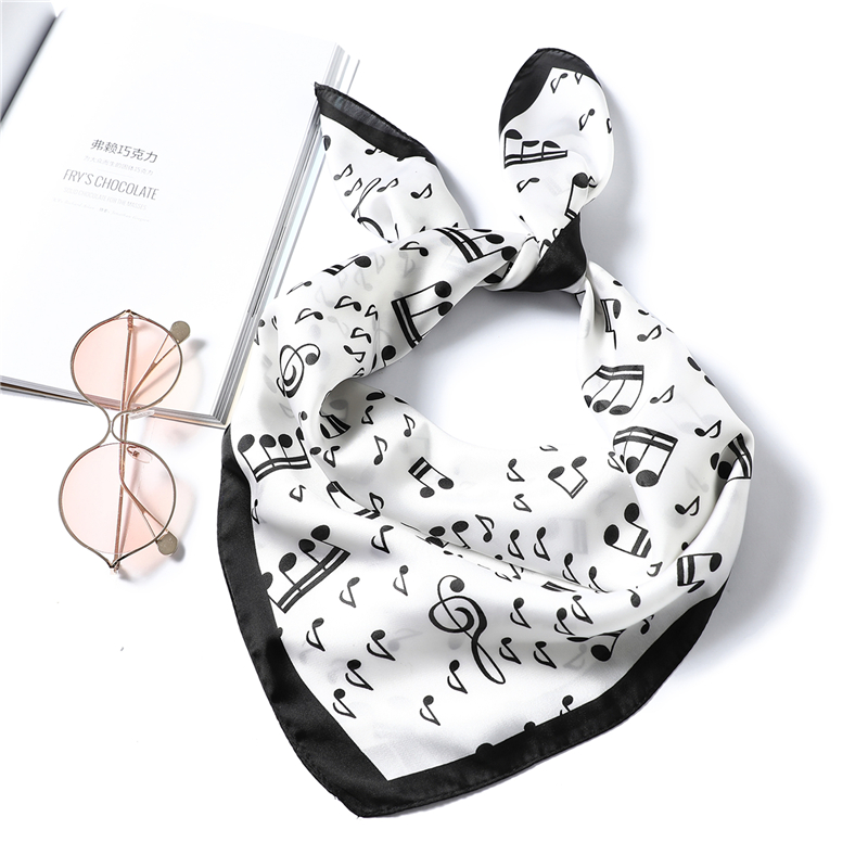 2020 Women Silk Neck Hair Scarf Designer Musical Note Print Lady Square Foulard Headband Accessories Hand Neckerchief Scarves