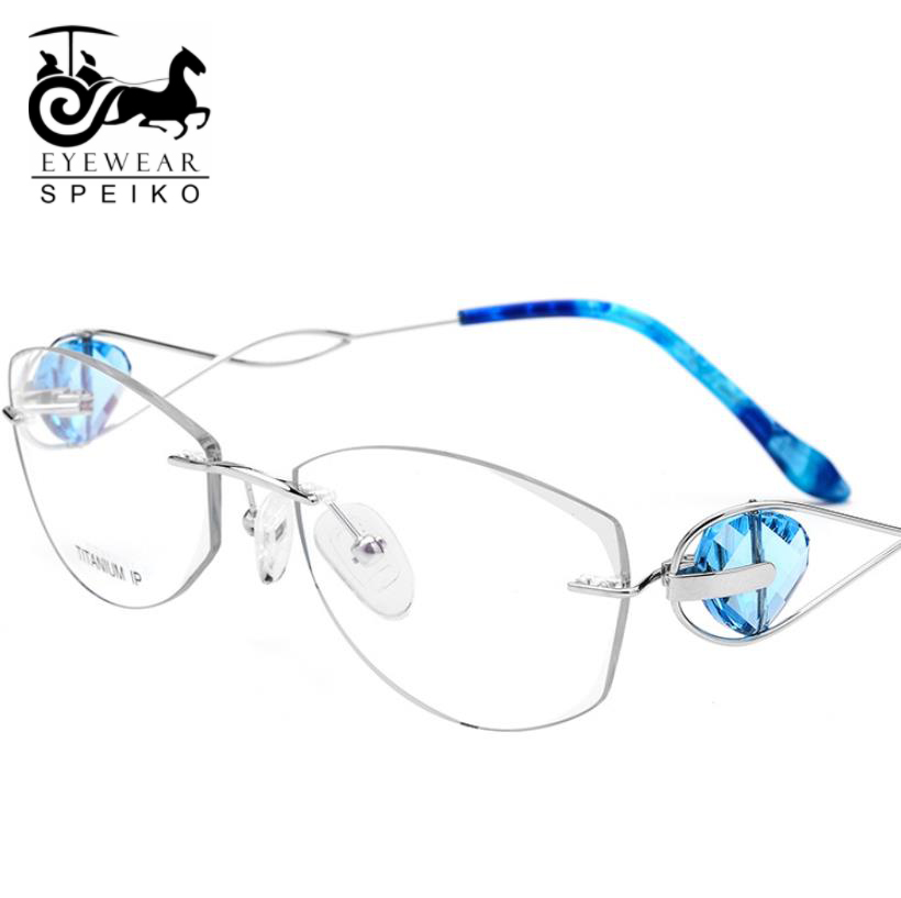 Top grade B Titanium frames SL719 for women famale frame rimless glasses myopia reading glasses ultralight frame speiko eyewear