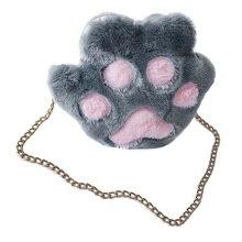 Осень Зима милая девушка повседневная плюшевая Милая кошка металлическая цепь сумки через плечо для женщин леди пушистая сумка на плечо популярная