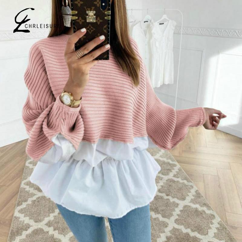 CHRLEISURE Sweater Women Pullover O-Neck Long Sleeve Women Sweater 2019 Autumn Pull Femme Jumper Mujer