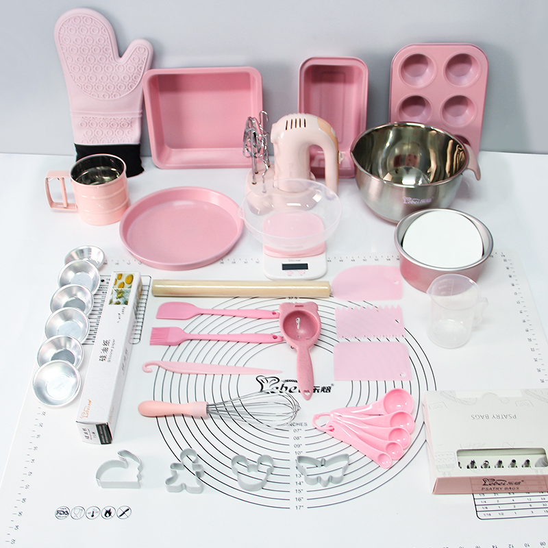 Pink Cake Baking Tool Set Cookie Mold Full Set Baking Tray Cheesecake Sustainable Eco Friendly Patisserie Kitchen Tools EB50DG