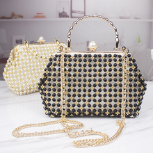 Handmade Pearl Bag Multi-function Female Imitation Large Gold Handbag Banquet Ladies Shoulder Finished Designer