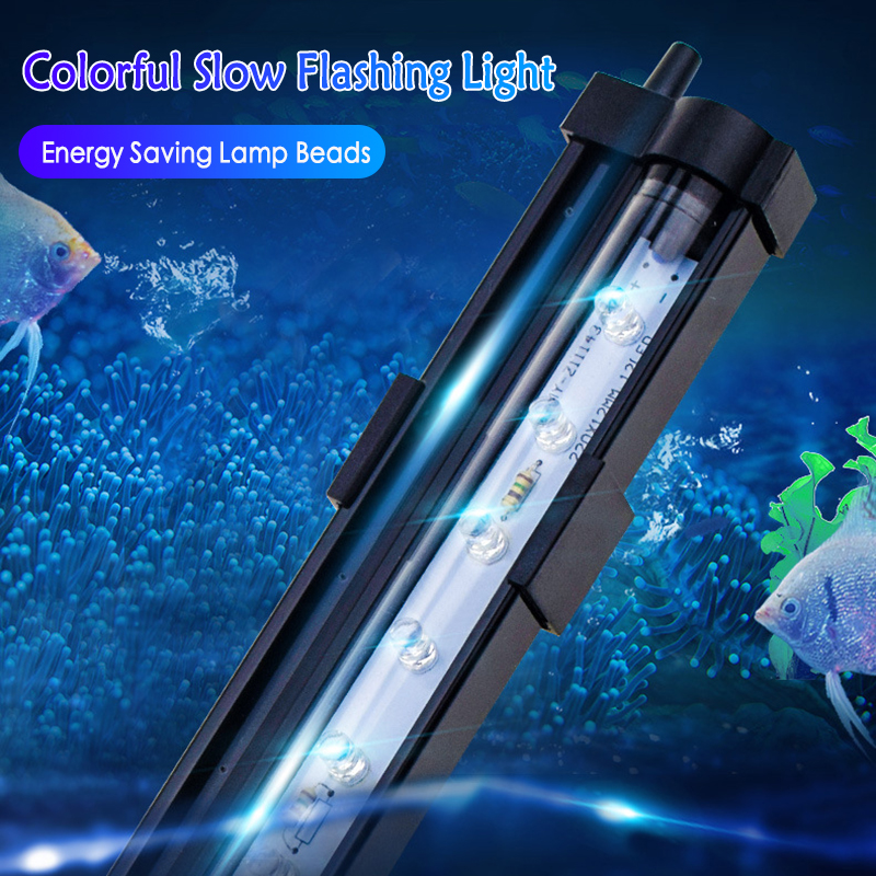 1Pcs Aquarium Fish Tank LED Lightings Bubble Multiple Colorful Light Bar Lamp Lowpower EU/US Plug Safe Waterproof Strip Light