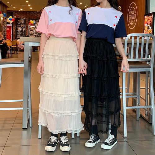 Été nouveau doux gâteau jupe haute rue taille haute longue maille jupes plissées