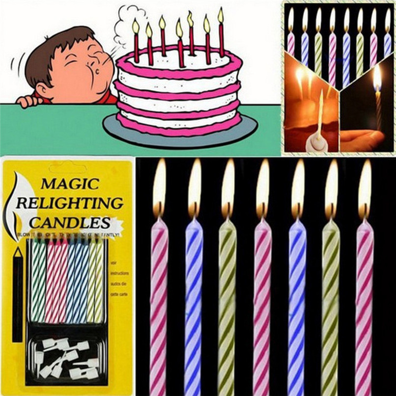 10 Pcs Candles Cake Magic Relighting Blowing Funny Tricky Birthday Eternal Festivals Party Supplies Joke Birthday Cake Decor 3N