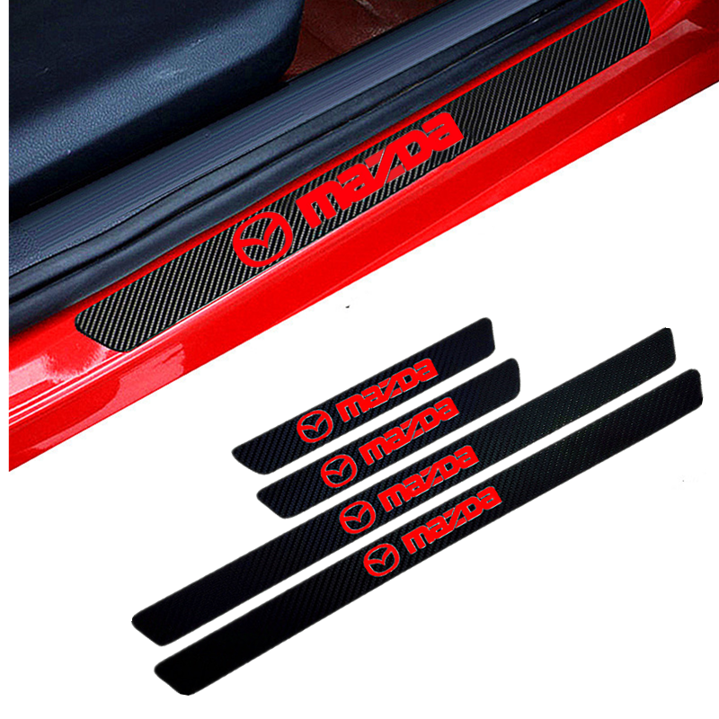 4PCS Car Styling Carbon Fiber Door Sill Protector Stickers For Mazda 2 Mazda 3 MS For Mazda 6 CX-5 CX5 Car-Styling Accessories