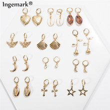 Ingemark Korean Sweet Natural Shell Dangle Earrings Bohemian Lover Heart Sea Shell Flower Drop Earrings Summer Ear Jewelry 2019(China)