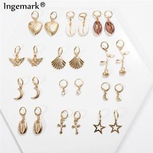 Ingemark Korean Sweet Natural Shell Dangle Earrings Bohemian Lover Heart Sea Shell Flower Drop Earrings Summer Ear Jewelry 2019