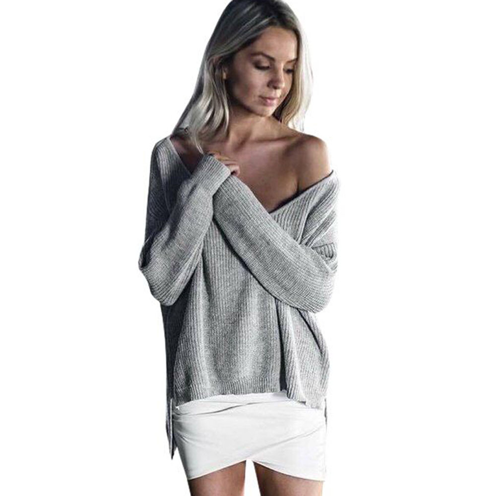 Jaycosin Fashion Casual Lady Off Shoulder Long Sleeve Sweater Stylish Comfortable Soft Solid Color Knitting Knitted Sweater