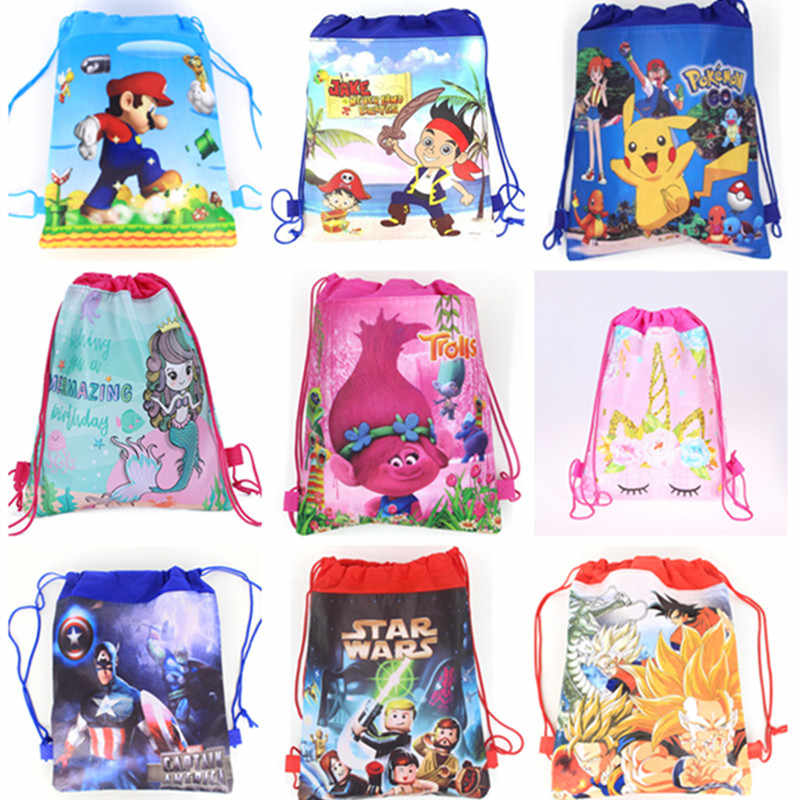 Non-woven Fabric Avengers School Bag Cartoon Drawstring Backpack Kids Toys Storage Cute SchoolBag