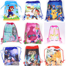 Non-woven Fabric Avengers School Bag Cartoon Drawstring Backpack Kids Toys Storage Cute SchoolBag(China)