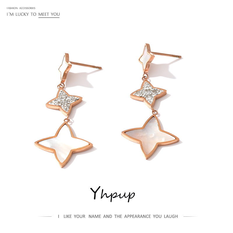 Yhpup Stainless Steel Star Dangle Earrings Natural Shell Jewelry Luxury Rhinestone Rose Gold Women Earrings Accessories 2020