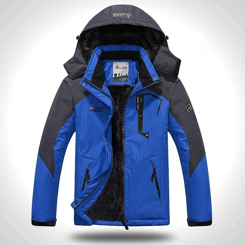 2019 Winter Jacket Men Thick Velvet Warm Coat Male Windproof Hooded Jackets Outwear Casual Mountaineering Overcoat 6XL Plus Size