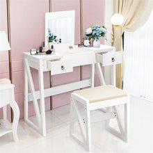 Vanity Dressing Table Set Flip Makeup Mirror Stool with 2 Drawers 9 Storage Compartments Flip Mirror Bedroom Furniture HW59397(China)