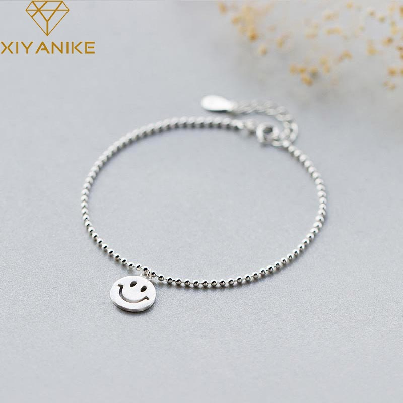 XIYANIKE 925 Sterling Silver Fashion Simple Small Round Bead Bracelets Bangles For Women Smiling Face Pendant Jewelry Adjustable