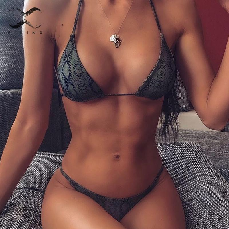 Bikini con estampado de serpiente para mujer, ropa de baño Sexy de corte alto con cuello Halter, bañador triangular de realce, traje de baño brasileño para mujer 2019