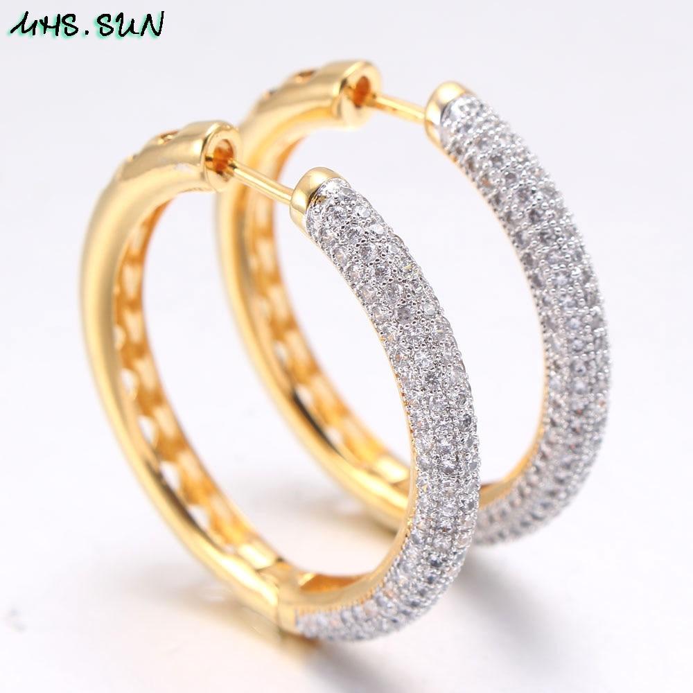 Image 4 - MHS.SUN 2019 New European Style Jewelry Gold Color Hoop Earrings With AAA Zircon For Women Wedding Party Circel Earrings GiftHoop Earrings   -