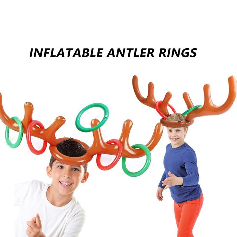 2 Set PVC Headband Kids Toy Lovely Inflatable Antler Christmas Elk Personality Especially Creative Head Throwing Ring