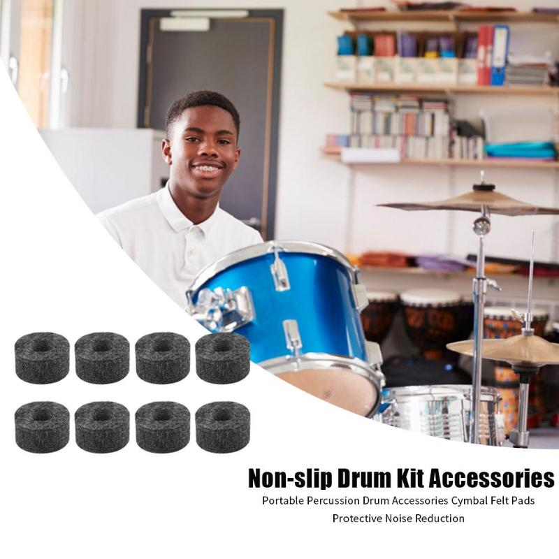 8pcs Non-slip Drum Kit Accessories Percussion Cymbal Felt Pads Protector Protective Covers Musical Instruments Parts