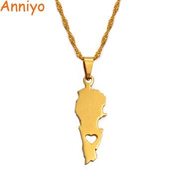 Anniyo Liban kraj mapa wisiorek naszyjniki złoty kolor biżuteria Liban mapy libańskich patriotycznych prezentów #018521