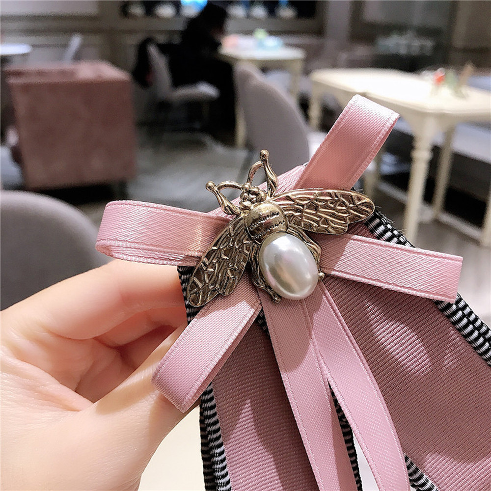 2020 New Korea Style Fashion Cute Pink Bee Bow Long Ribbon Big Bow Tie For Women Girl Accessory