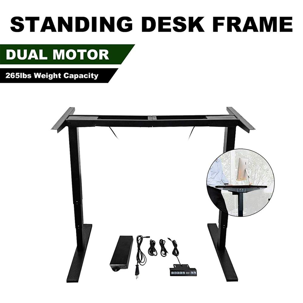 3-Stage Electric Stand Up Desk Frame/Dual Synchronous Motor Ergonomic Height Adjustable Standing Desk For DIY Workstation EUPLUG