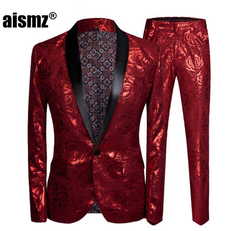 Aismz Männer Slim Fit Kostüm Homme Rot Rose Vergoldung 2 Stück Set Hochzeit Anzüge Für Neueste Mantel Hose Designs Sänger bühne Tragen