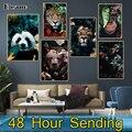 Холст абстрактная живопись с цветочным принтом «панда» с изображением слона тигра плакат со львом и принты Хоум Декор Гостиная настенная С...