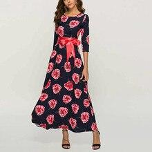 Yinice Print Floral Maxi Dress Women 2019 O-neck 3/4 Sleeve New Autumn Winter Elegant Dress Women Vintage Lady Party Long Dress vintage slash neck 3 4 sleeve cherry print dress for women