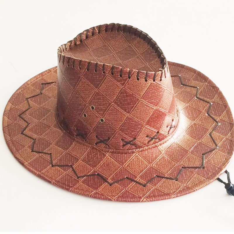 Faux Leather Male Cowboy Hat Big-edge Western Outdoor Rider Stereotyped Hat