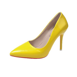 Brand Shoes 10 CM Heels Women Shoes Pumps Stiletto Neon Yellow Sexy Party High Heels Shoes Big Size 10 11 12