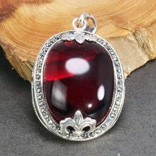 Real Pure 925 Sterling Silver Pendant For Women With Garnet Gemstones Antique Retro Spiritual Meditation Jewelry