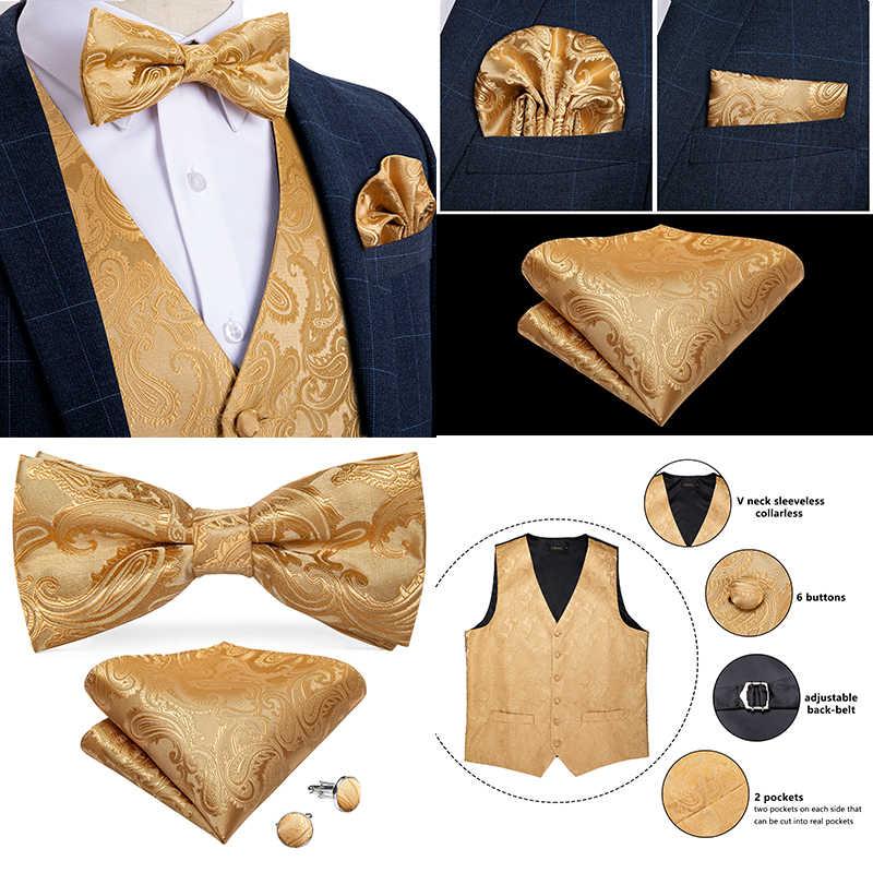 Herren Silber Gold Schwarz Paisley Klassische Partei Hochzeit Jacquard Weste Weste Tasche Platz Krawatte Für Anzug Smoking DiBanGu