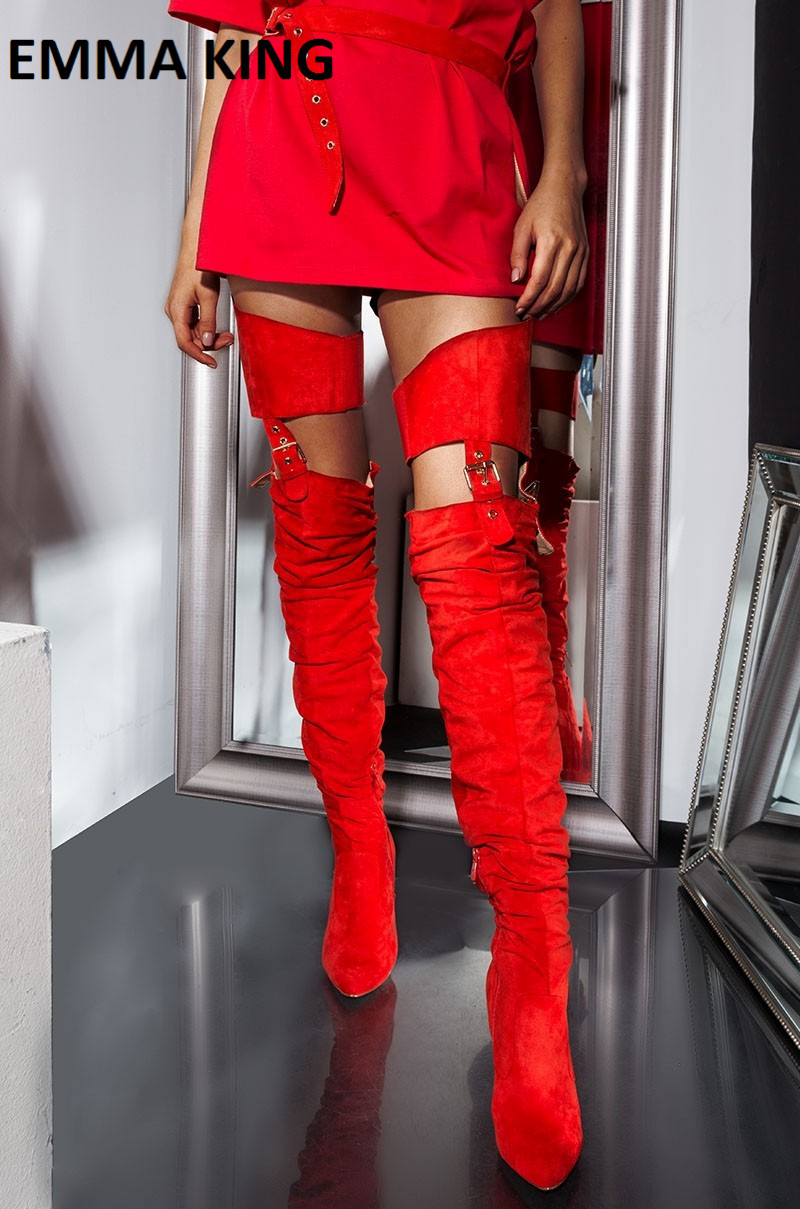 2019 New <font><b>Sexy</b></font> Belted Thigh High Chunky Heel <font><b>Chap</b></font> Boots Thigh High Women Boots Women's Over the Knee Boots Club Cowboy Shoes image
