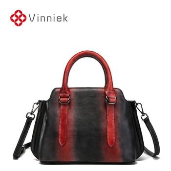 2020 New Handmade Genuine Leather Shoulder Bags Women Vintage Contrast Cowhide Handbag Cross Body Large Capacity Casual Tote Bag