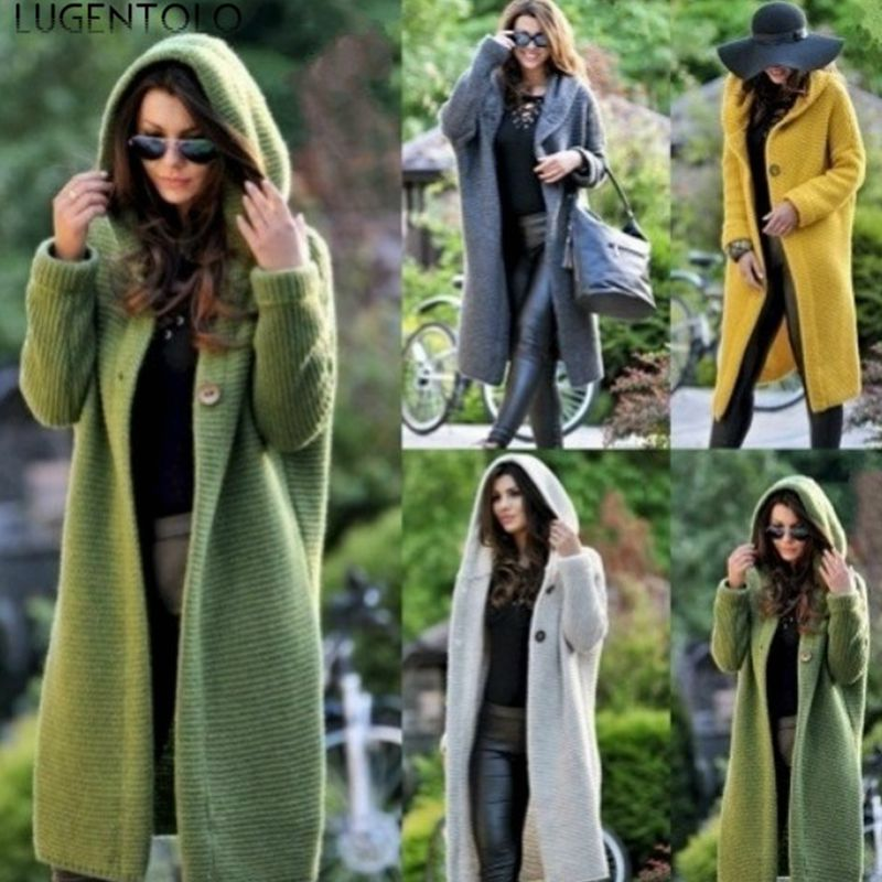 Lugentolo Women's Sweater Spring And Autumn Solid Color Long Sleeve Cardigan Hooded Coat Christmas Knit Sweater Large Size S-5XL