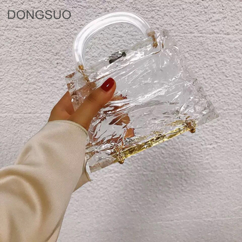 Transparent totes bag Clear acrylic PVC plastic ice box bag Dubai women girl vintage retro evening party handbag summer bag