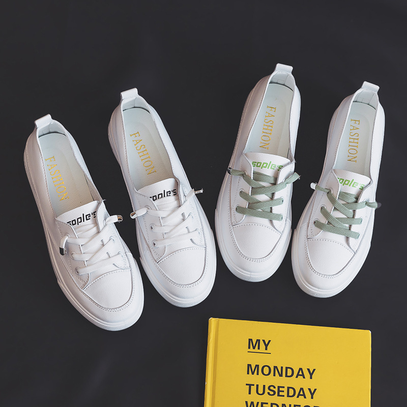 Fashion Women 's Shoes 2020 Summer Style White Shoes Women PU Leather Solid Color Women 's Shoes Casual Sports Sneakers