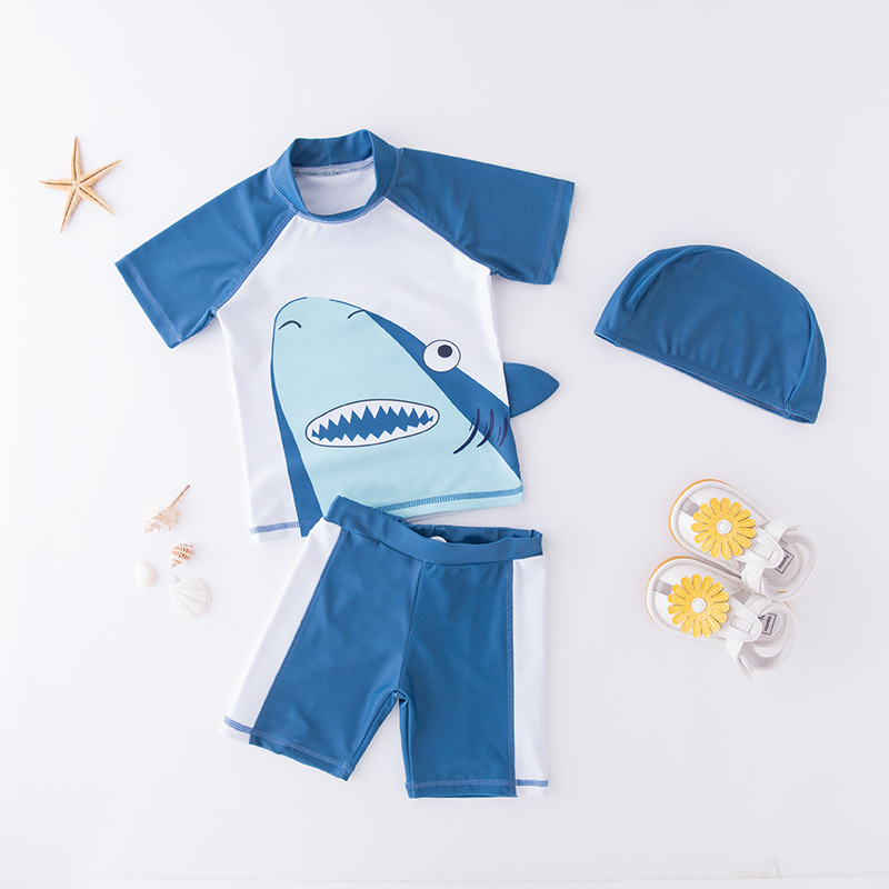 KID'S Swimwear Boy Split Swimsuit Shark Hooded Short Sleeve Swimwear Beachwear Spa Resort Tour Bathing Suit