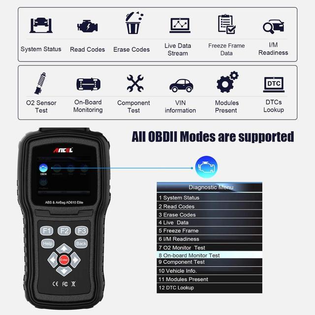 Ancel AD610 Elite Engine Check ABS SRS Airbag Air Bag SAS Reset Crash Data Automotive Scanner Car Diagnostic Tool OBD2 Scanner