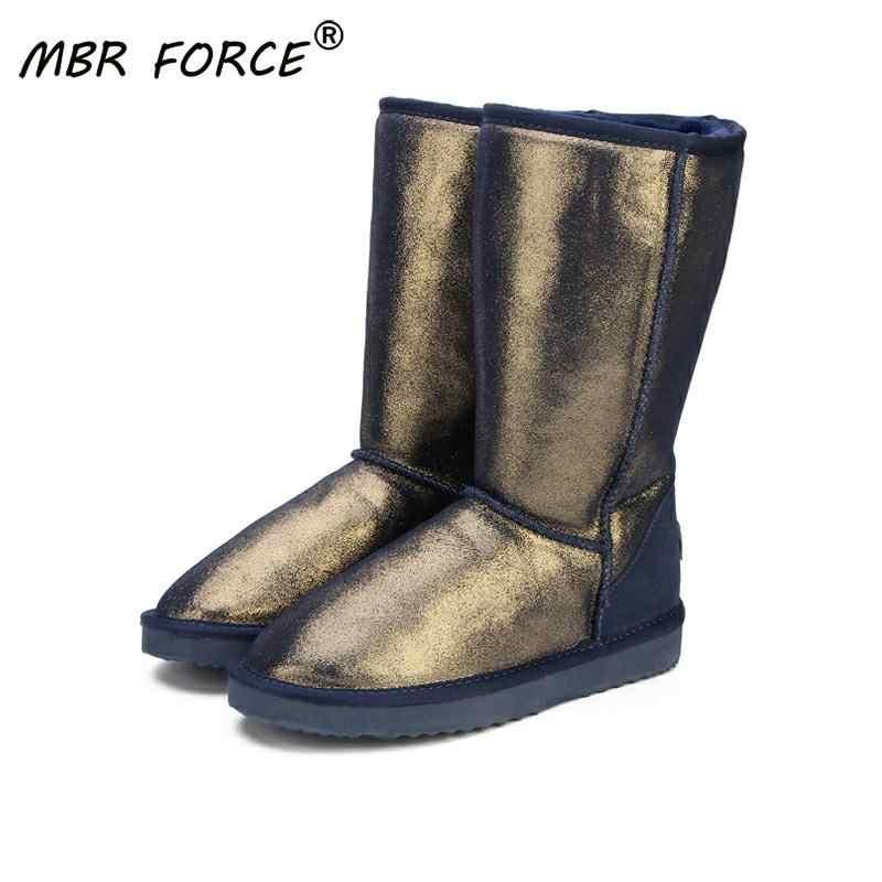 MBR LỰC Chất Lượng Hàng Đầu Bao Da Chính Hãng Ủng cho Nữ Cao Cấp Chống Nước Mùa Đông Giày Ấm Nữ Dài Giày Đen HOA KỲ 3-13