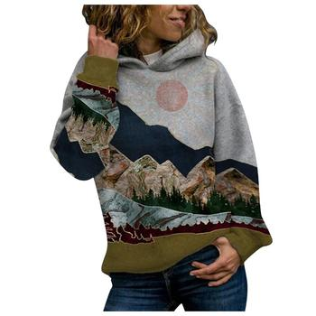 2020 Women's Casual Mountain Print Sweatshirts Thermal Crewneck Long Sleeve Hoodies Loose Black Tracksuit Streetwear clothes 11