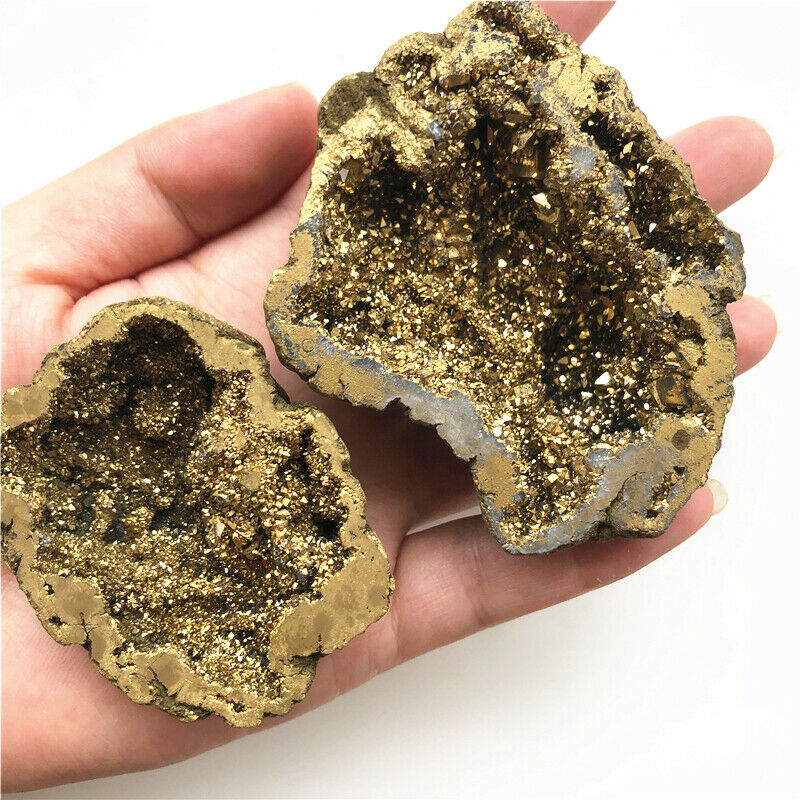 Golden Titanium Aura White Agate Cluster Crystal Points Geode Minerals Specimen