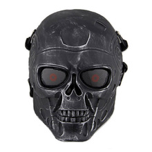 Airsoft mask Terminator Skull Protective Black Tactical Full Face Mask Military Army Paintball CS Wargame Halloween Party
