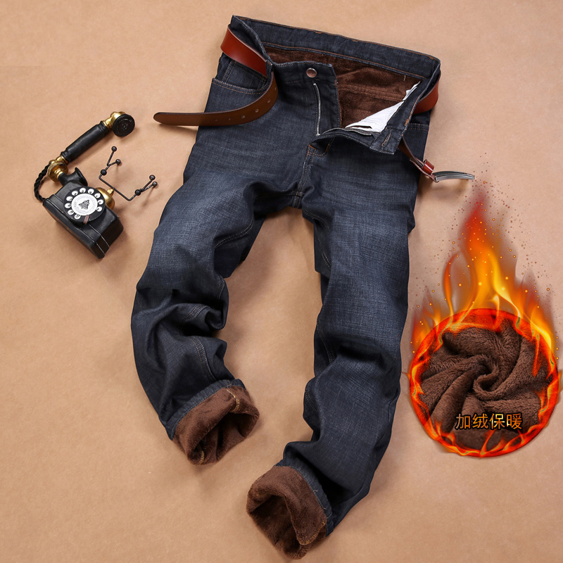 Autumn And Winter Jeans Men's Brushed And Thick Warm Casual Pants Elasticity High-waisted Loose Straight Winter MEN'S Pants