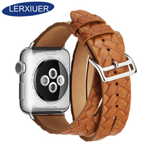 Lerxiuer Leather Loop For Apple watch band 42mm 38mm Series 3 2 1 wrist bands Bracelet Double Tour watchband for apple watch 5 цена