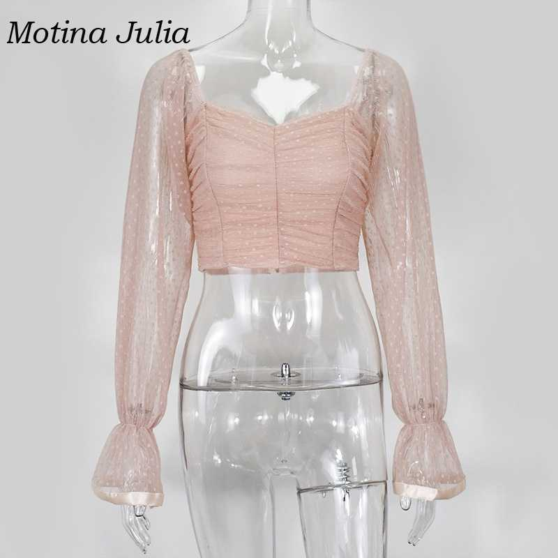 Motina Julia off shoulder mesh dot blouses shirt vrouwen boho strand sexy party vrouwelijke blusas